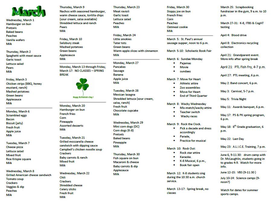 Capture March menu